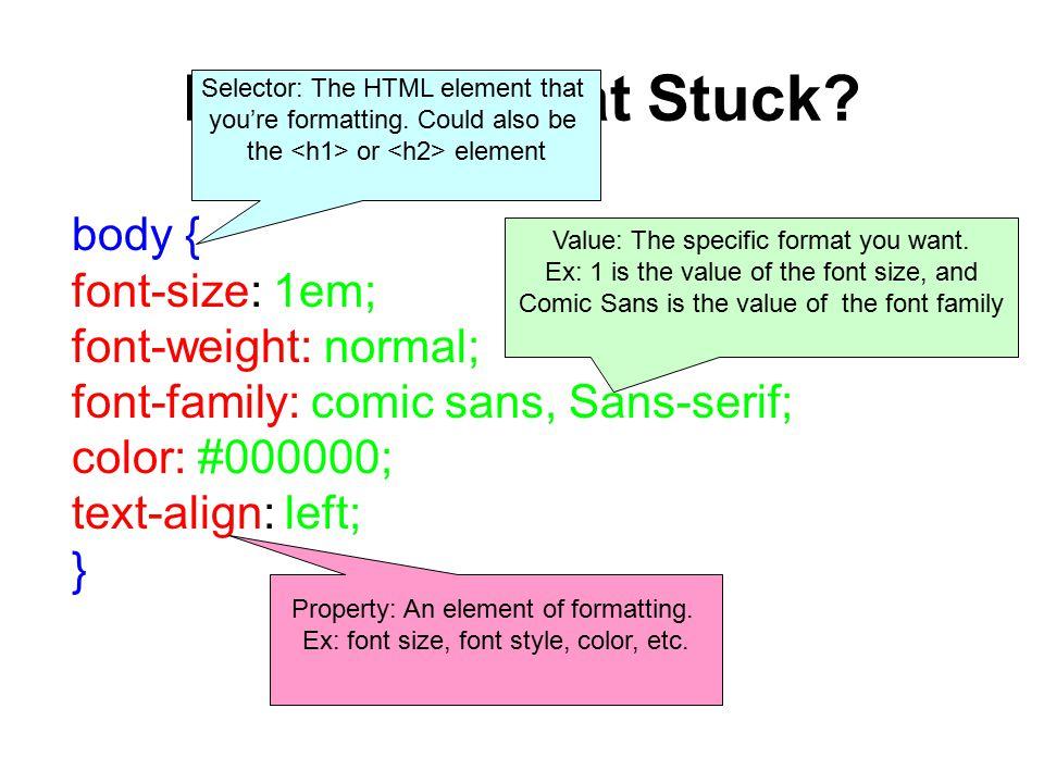 REVIEW: What Stuck? body { font-size: 1em; font-weight: normal; font-family: comic sans, Sans-serif; color: #000000; text-align: left; } Selector: The