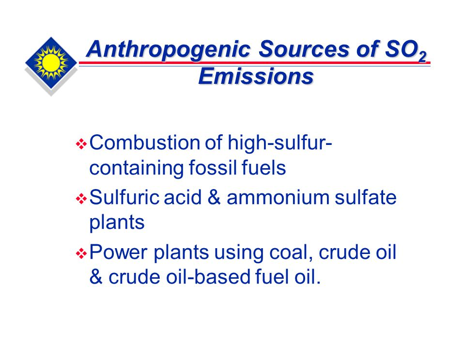 Major Global Anthropogenic Sources of SO 2 Emissions Emission SourceEmission (%) Electric utility69.7 Industrial fuel combustion13.6 Metal processing3.8 Transportation3.5 Others9.4 Source: Schnelle, K.B., and Brown, C.A., Control of So x, In Air Pollution Control Technology Handbook, ed.