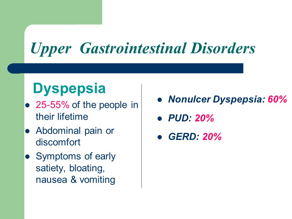 GERD Backflow of GI contents into the esophagus resulting in esophagitis Classic symptom: Heartburn or burping up of stomach contents into the mouth Major concern: Barrett's esophagus (a predisposing factor for esophagus cancer)