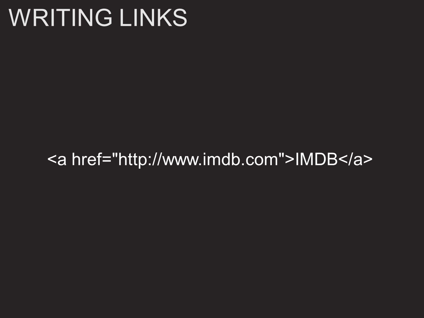 WRITING LINKS IMDB