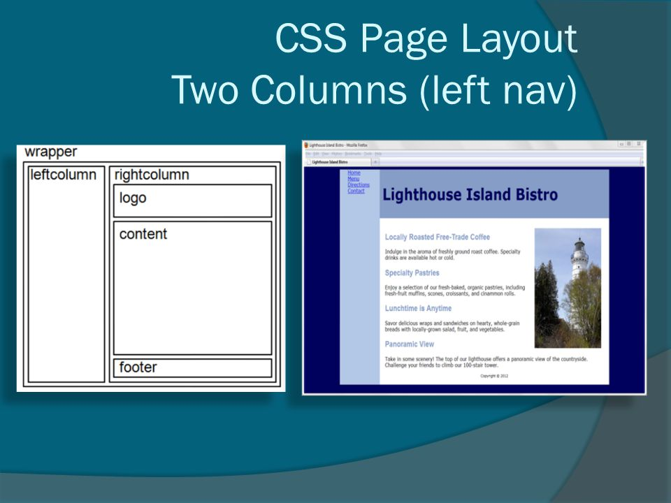 CSS Page Layout Two Columns (left nav)
