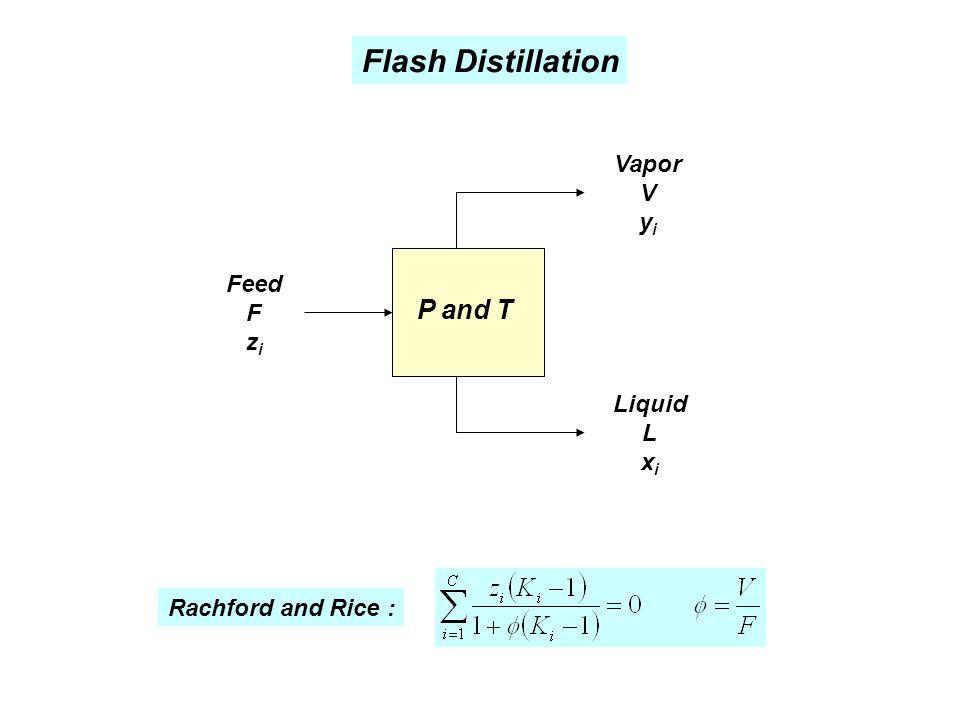 Flash Distillation P and T Feed F z i Liquid L x i Vapor V y i Rachford and Rice :