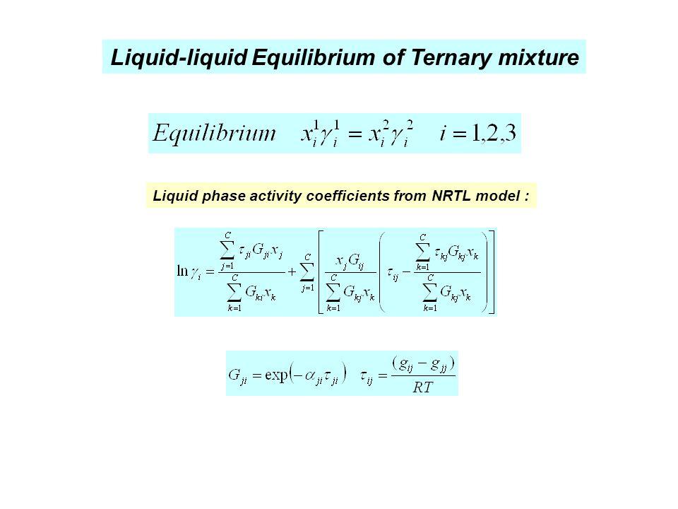 Liquid-liquid Equilibrium of Ternary mixture Liquid phase activity coefficients from NRTL model :