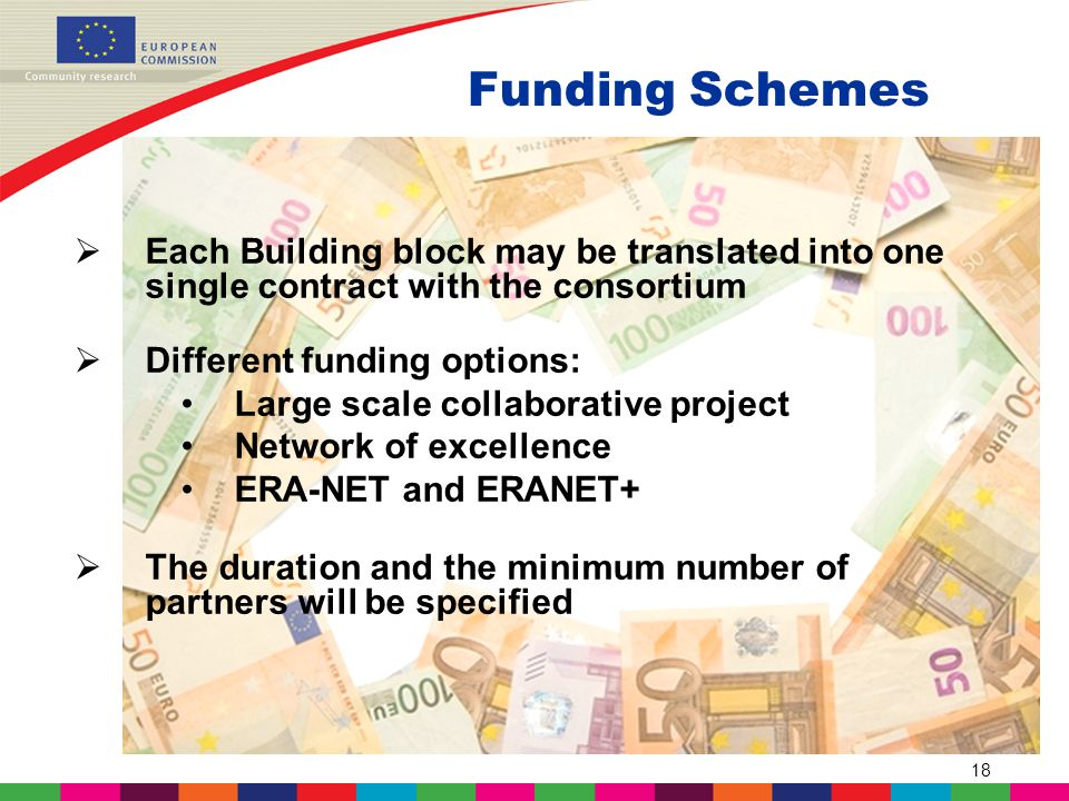18 Funding Schemes  Each Building block may be translated into one single contract with the consortium  Different funding options: Large scale collaborative project Network of excellence ERA-NET and ERANET+  The duration and the minimum number of partners will be specified