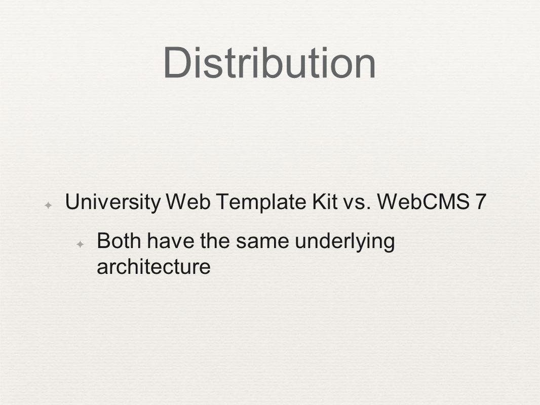Distribution ✦ University Web Template Kit vs.