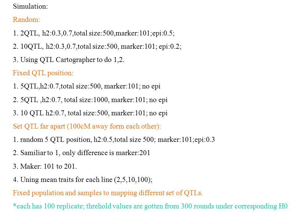 Simulation: Random: 1. 2QTL, h2:0.3,0.7,total size:500,marker:101;epi:0.5; 2.