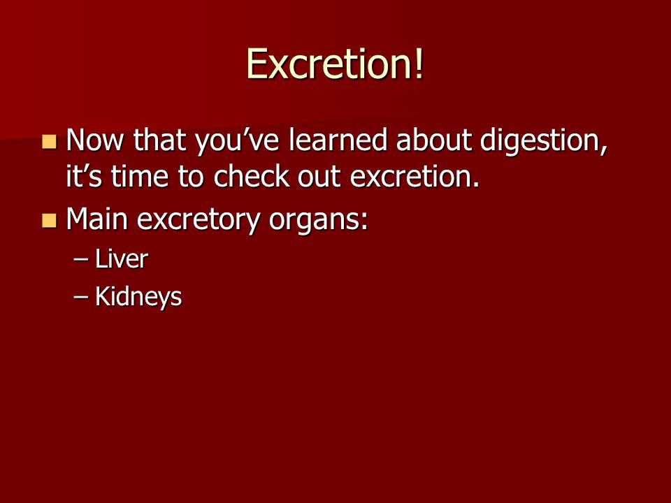 Excretion! Now that you've learned about digestion, it's time to check out excretion. Now that you've learned about digestion, it's time to check out