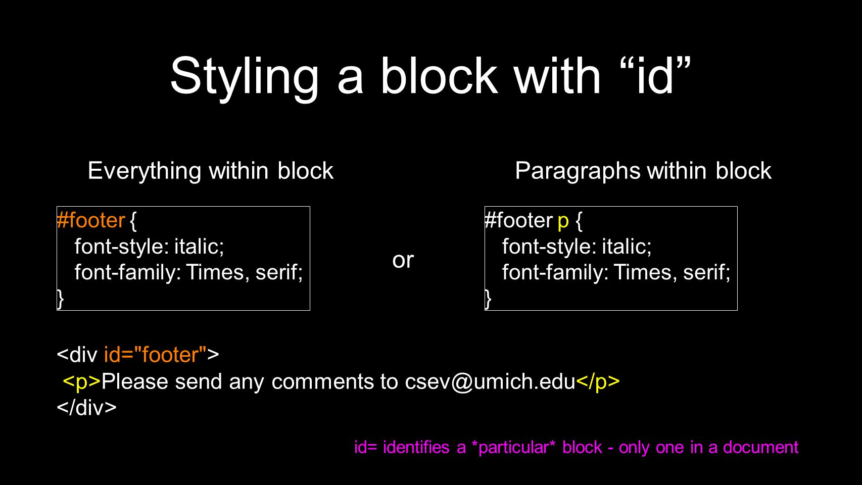 Styling a block with id #footer { font-style: italic; font-family: Times, serif; } Please send any comments to csev@umich.edu #footer p { font-style: italic; font-family: Times, serif; } or Everything within blockParagraphs within block id= identifies a *particular* block - only one in a document