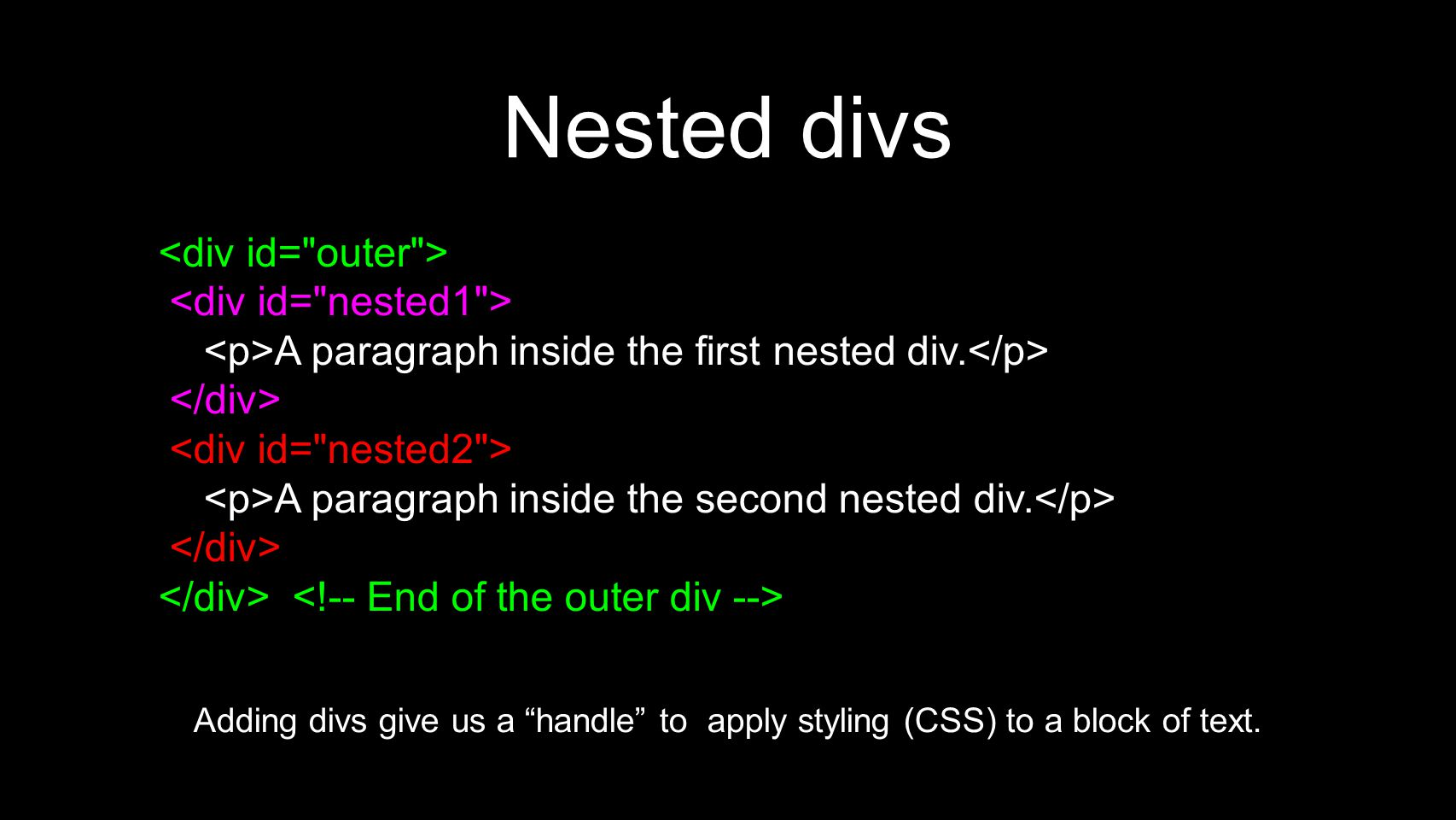 Nested divs A paragraph inside the first nested div.