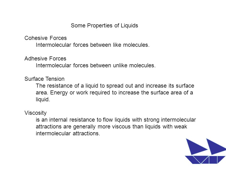 Some Properties of Liquids Cohesive Forces Intermolecular forces between like molecules.