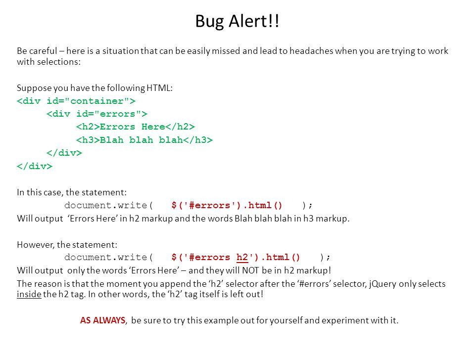 Bug Alert!.