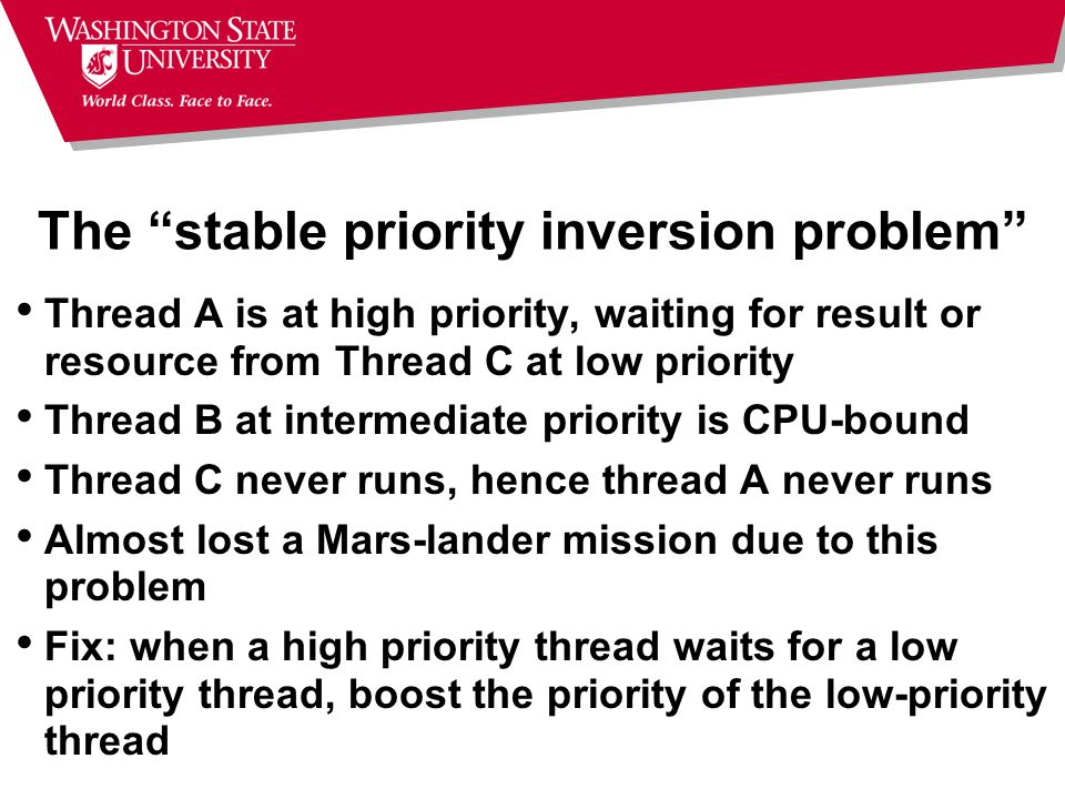 The stable priority inversion problem Thread A is at high priority, waiting for result or resource from Thread C at low priority Thread B at intermediate priority is CPU-bound Thread C never runs, hence thread A never runs Almost lost a Mars-lander mission due to this problem Fix: when a high priority thread waits for a low priority thread, boost the priority of the low-priority thread