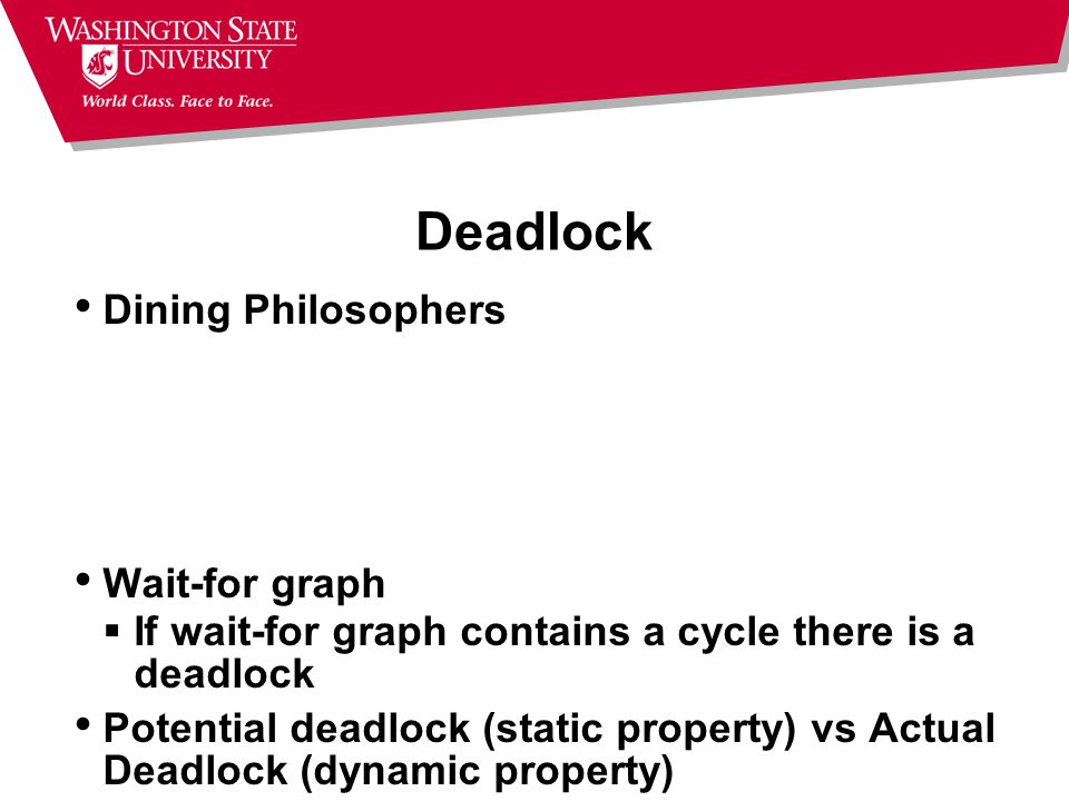 Deadlock Dining Philosophers Wait-for graph  If wait-for graph contains a cycle there is a deadlock Potential deadlock (static property) vs Actual De