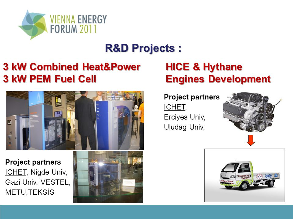 R&D Projects : R&D Projects : Project partners ICHET, Nigde Univ, Gazi Univ, VESTEL, METU,TEKSİS 3 kW Combined Heat&Power 3 kW PEM Fuel Cell HICE & Hy