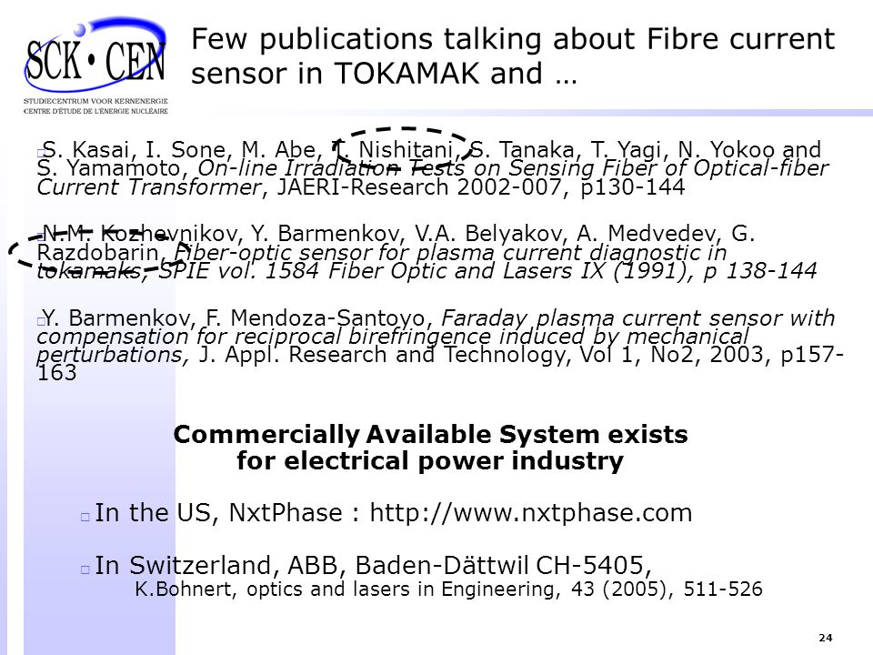 24 Few publications talking about Fibre current sensor in TOKAMAK and …  S. Kasai, I. Sone, M. Abe, T. Nishitani, S. Tanaka, T. Yagi, N. Yokoo and S.