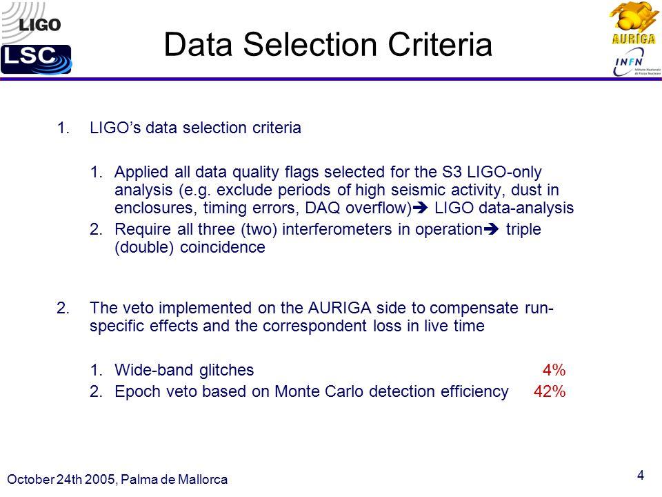 4 Data Selection Criteria 1.LIGO's data selection criteria 1.Applied all data quality flags selected for the S3 LIGO-only analysis (e.g.