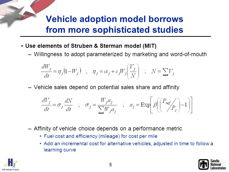 5 Vehicle adoption model borrows from more sophisticated studies Use elements of Struben & Sterman model (MIT) –Willingness to adopt parameterized by marketing and word-of-mouth –Vehicle sales depend on potential sales share and affinity –Affinity of vehicle choice depends on a performance metric Fuel cost and efficiency (mileage) for cost per mile Add an incremental cost for alternative vehicles, adjusted in time to follow a learning curve