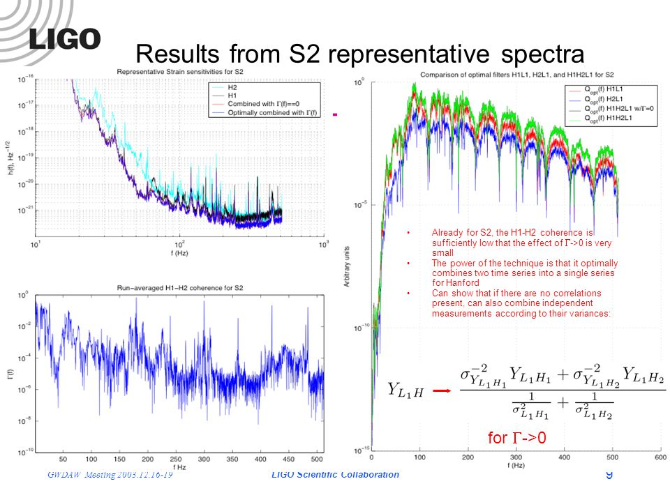 LIGO- G030686-01-Z GWDAW Meeting 2003.12.16-19LIGO Scientific Collaboration 9 Results from S2 representative spectra Already for S2, the H1-H2 coherence is sufficiently low that the effect of  ->0 is very small The power of the technique is that it optimally combines two time series into a single series for Hanford Can show that if there are no correlations present, can also combine independent measurements according to their variances: for  ->0