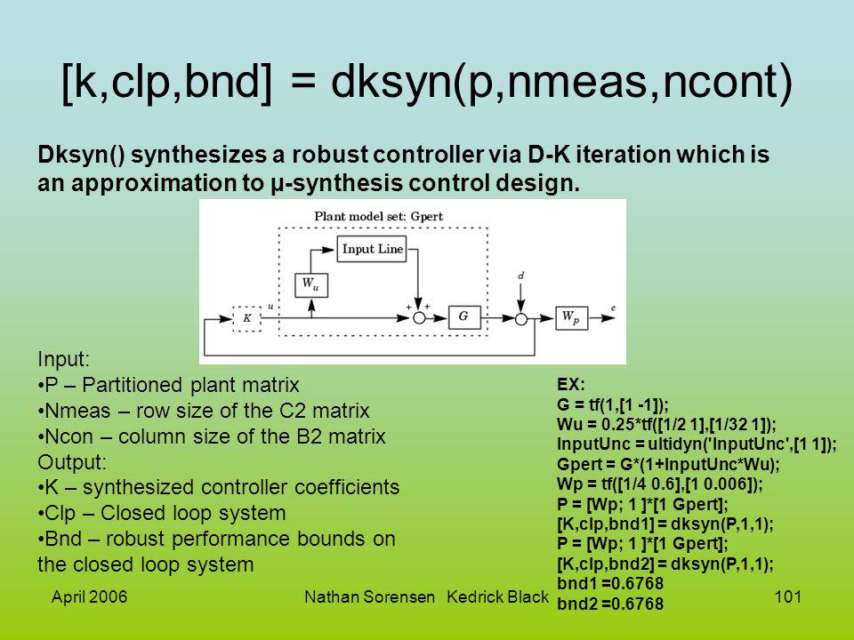 April 2006Nathan Sorensen Kedrick Black101 [k,clp,bnd] = dksyn(p,nmeas,ncont) Dksyn() synthesizes a robust controller via D-K iteration which is an ap