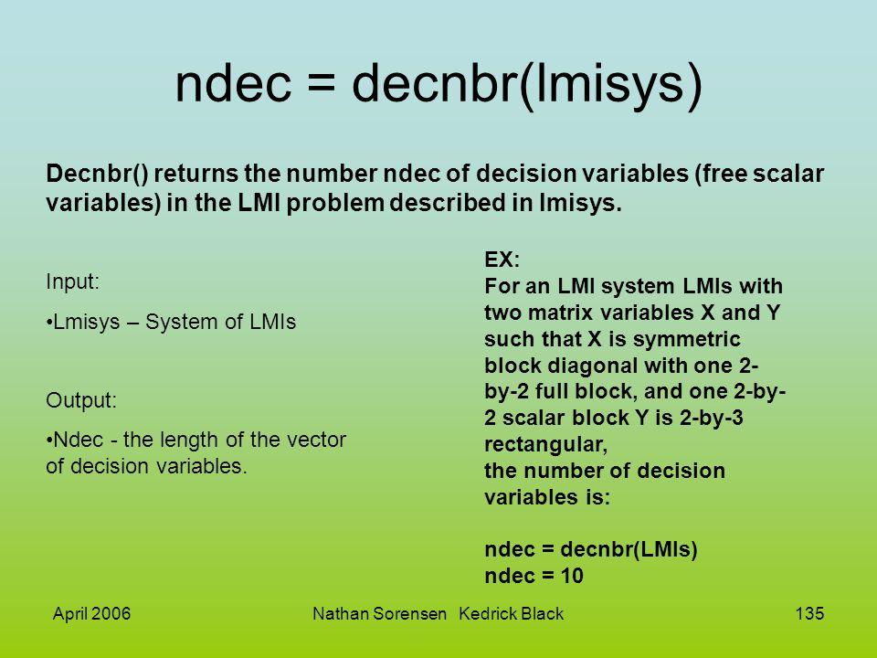 April 2006Nathan Sorensen Kedrick Black135 ndec = decnbr(lmisys) Input: Lmisys – System of LMIs Output: Ndec - the length of the vector of decision va