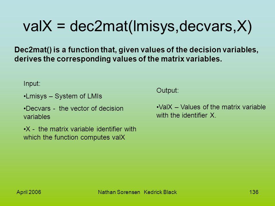 April 2006Nathan Sorensen Kedrick Black136 valX = dec2mat(lmisys,decvars,X) Input: Lmisys – System of LMIs Decvars - the vector of decision variables