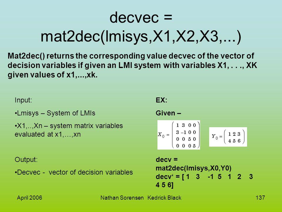April 2006Nathan Sorensen Kedrick Black137 decvec = mat2dec(lmisys,X1,X2,X3,...) Mat2dec() returns the corresponding value decvec of the vector of dec