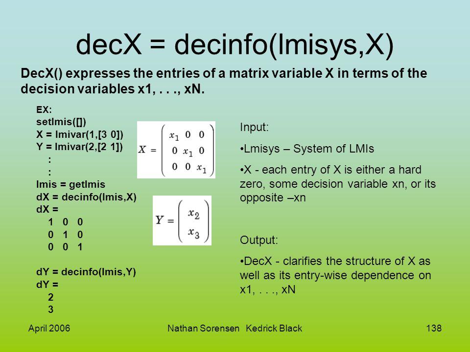 April 2006Nathan Sorensen Kedrick Black138 decX = decinfo(lmisys,X) DecX() expresses the entries of a matrix variable X in terms of the decision varia