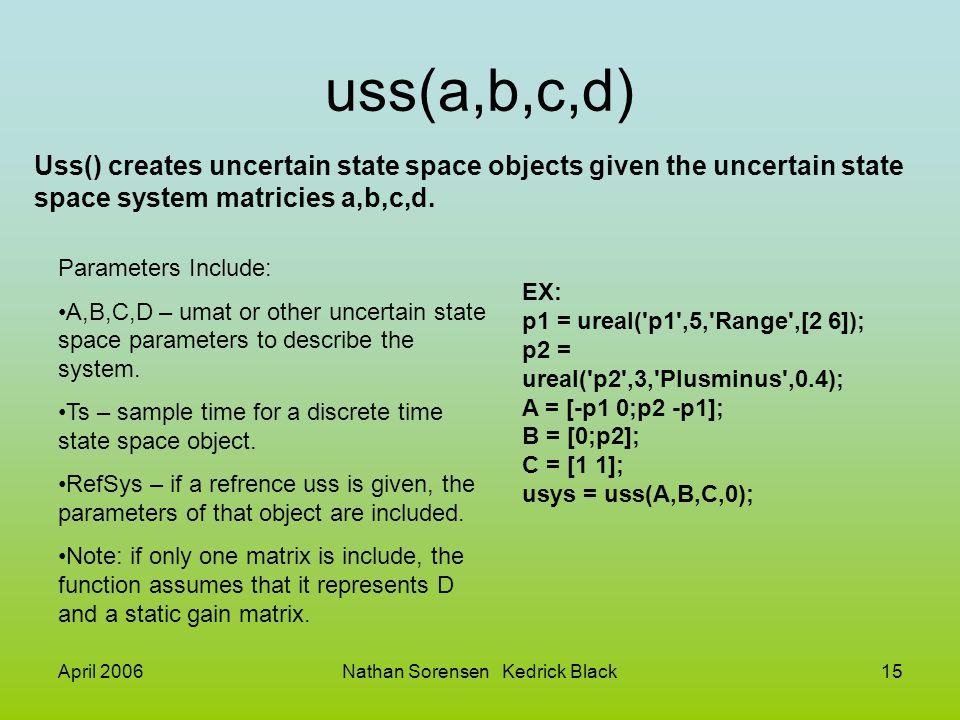 April 2006Nathan Sorensen Kedrick Black15 uss(a,b,c,d) Uss() creates uncertain state space objects given the uncertain state space system matricies a,