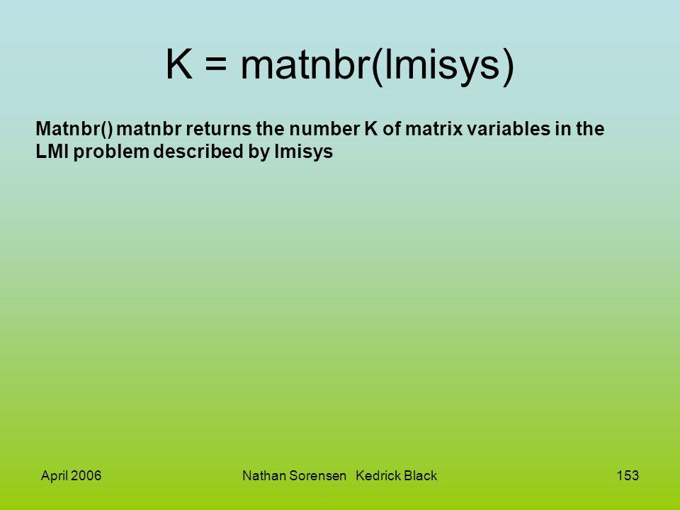 April 2006Nathan Sorensen Kedrick Black153 K = matnbr(lmisys) Matnbr() matnbr returns the number K of matrix variables in the LMI problem described by