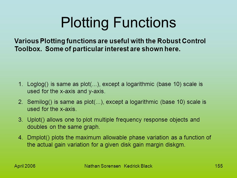 April 2006Nathan Sorensen Kedrick Black155 Plotting Functions Various Plotting functions are useful with the Robust Control Toolbox. Some of particula