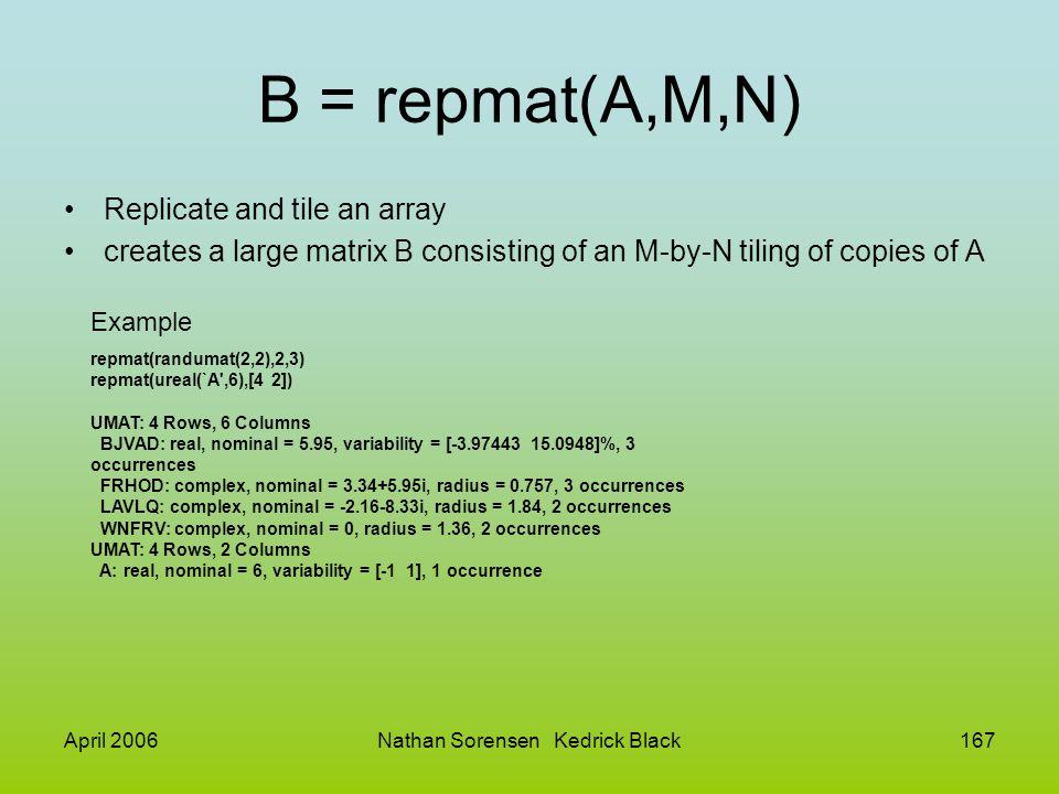 April 2006Nathan Sorensen Kedrick Black167 B = repmat(A,M,N) Replicate and tile an array creates a large matrix B consisting of an M-by-N tiling of co