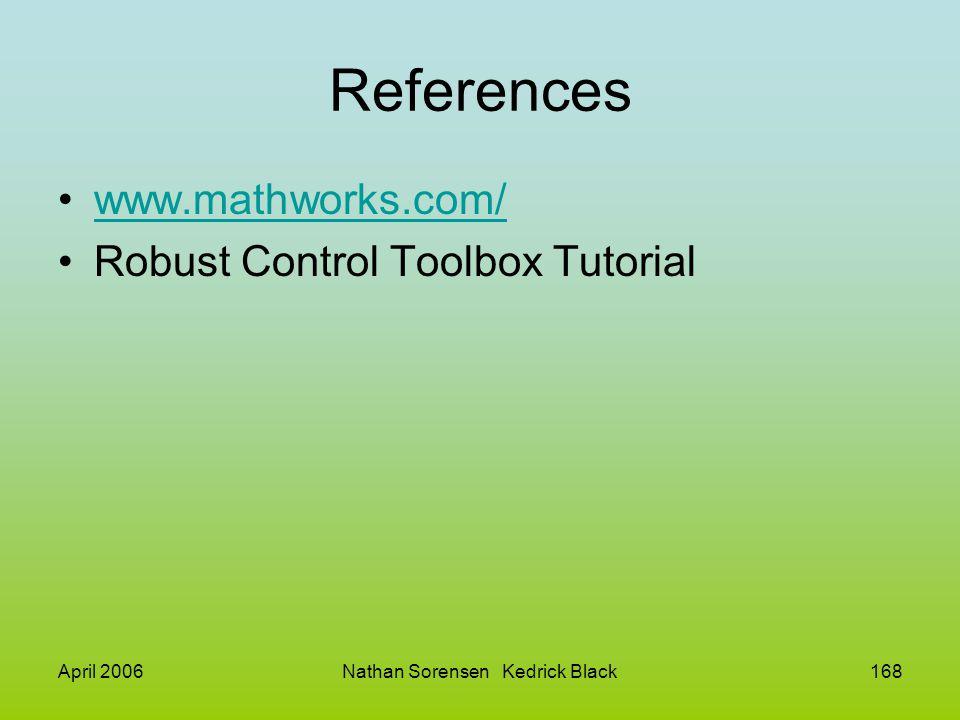 April 2006Nathan Sorensen Kedrick Black168 References www.mathworks.com/ Robust Control Toolbox Tutorial