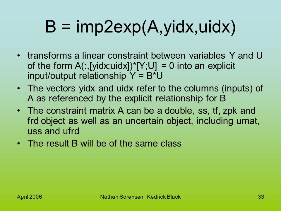 April 2006Nathan Sorensen Kedrick Black33 B = imp2exp(A,yidx,uidx) transforms a linear constraint between variables Y and U of the form A(:,[yidx;uidx