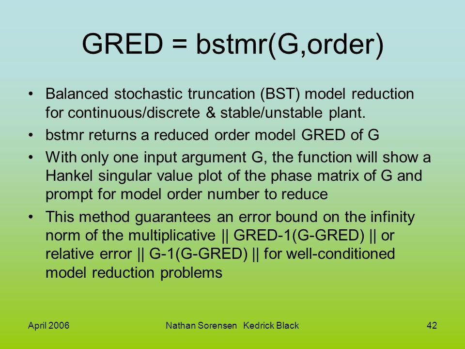 April 2006Nathan Sorensen Kedrick Black42 GRED = bstmr(G,order) Balanced stochastic truncation (BST) model reduction for continuous/discrete & stable/