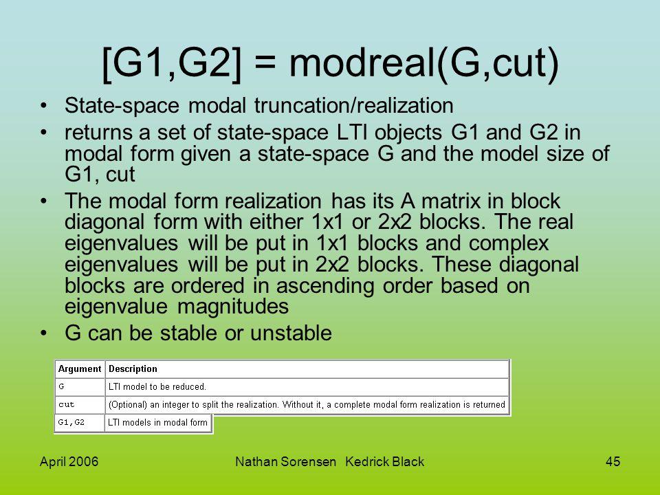 April 2006Nathan Sorensen Kedrick Black45 [G1,G2] = modreal(G,cut) State-space modal truncation/realization returns a set of state-space LTI objects G