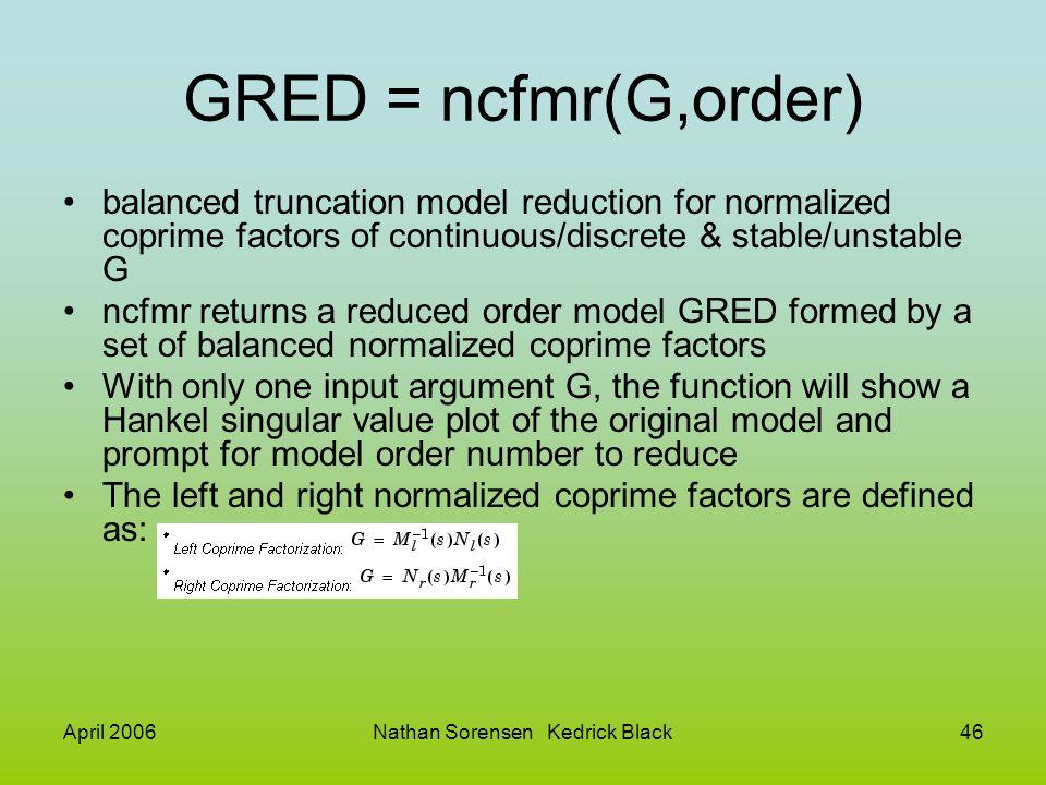 April 2006Nathan Sorensen Kedrick Black46 GRED = ncfmr(G,order) balanced truncation model reduction for normalized coprime factors of continuous/discr