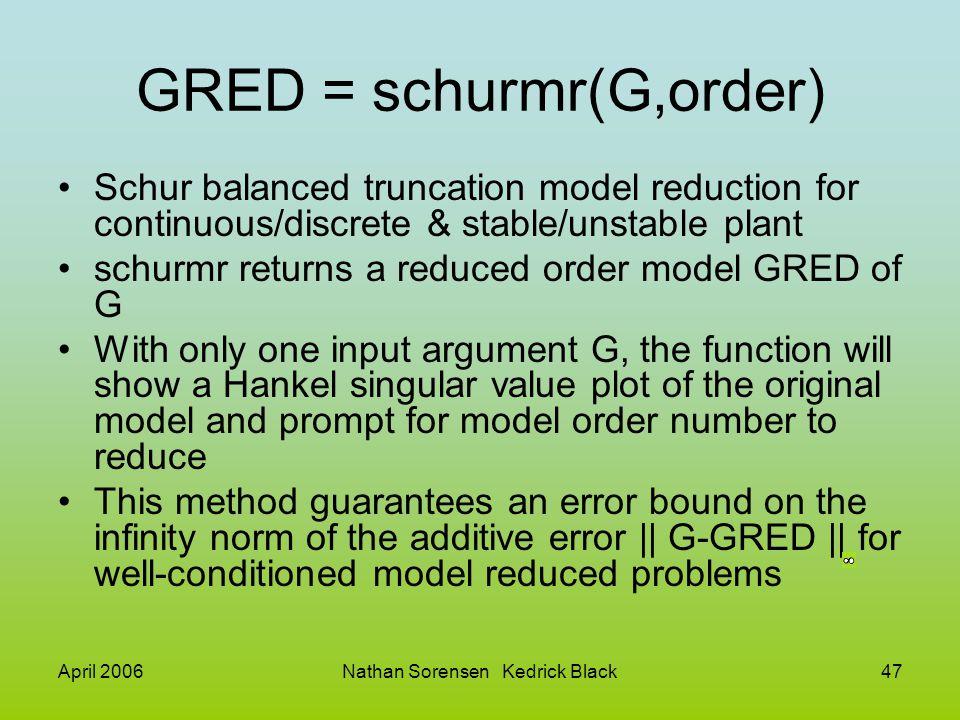 April 2006Nathan Sorensen Kedrick Black47 GRED = schurmr(G,order) Schur balanced truncation model reduction for continuous/discrete & stable/unstable