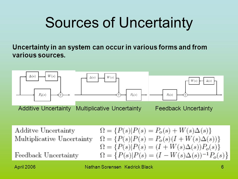 April 2006Nathan Sorensen Kedrick Black6 Sources of Uncertainty Uncertainty in an system can occur in various forms and from various sources. Additive