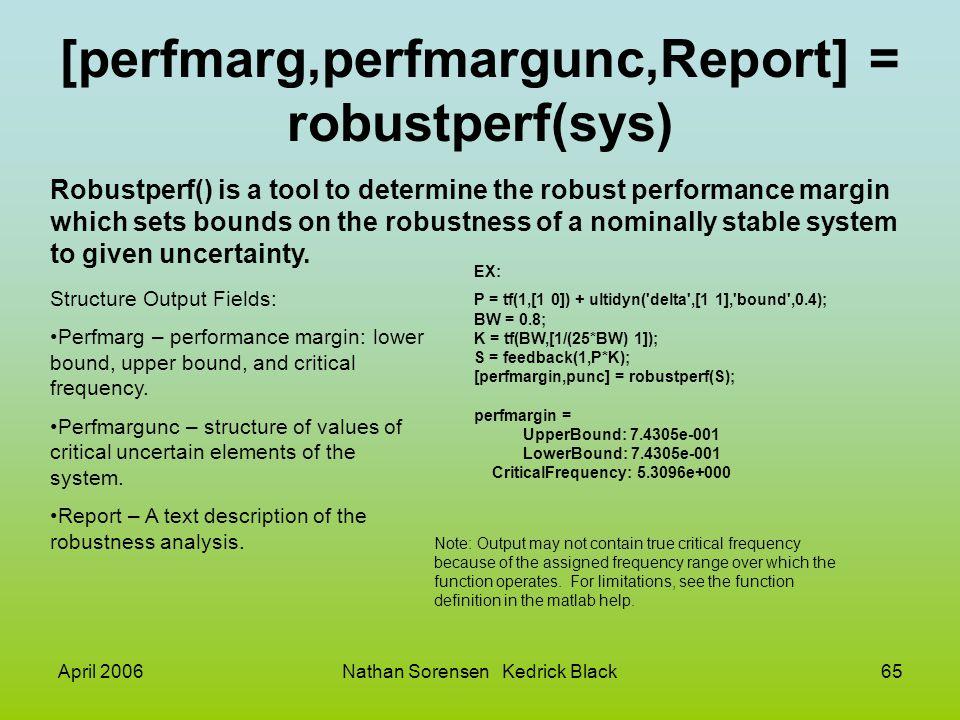 April 2006Nathan Sorensen Kedrick Black65 [perfmarg,perfmargunc,Report] = robustperf(sys) Robustperf() is a tool to determine the robust performance m
