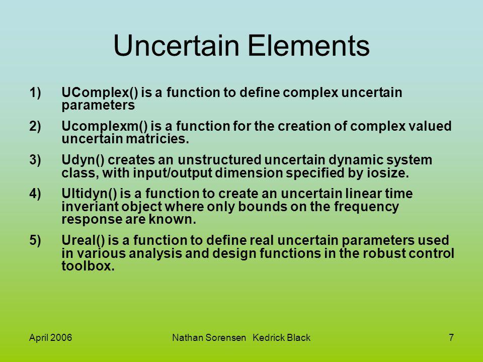 April 2006Nathan Sorensen Kedrick Black7 Uncertain Elements 1)UComplex() is a function to define complex uncertain parameters 2)Ucomplexm() is a funct
