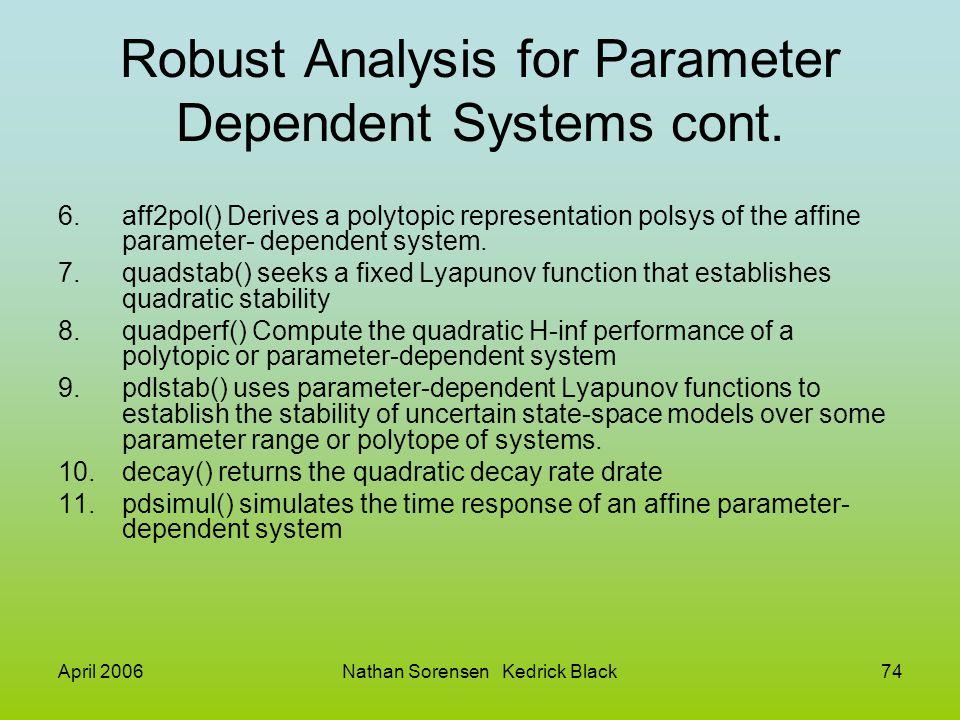 April 2006Nathan Sorensen Kedrick Black74 Robust Analysis for Parameter Dependent Systems cont. 6.aff2pol() Derives a polytopic representation polsys