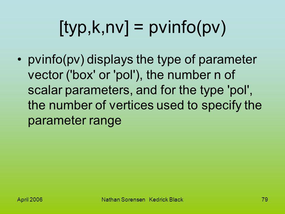April 2006Nathan Sorensen Kedrick Black79 [typ,k,nv] = pvinfo(pv) pvinfo(pv) displays the type of parameter vector ('box' or 'pol'), the number n of s