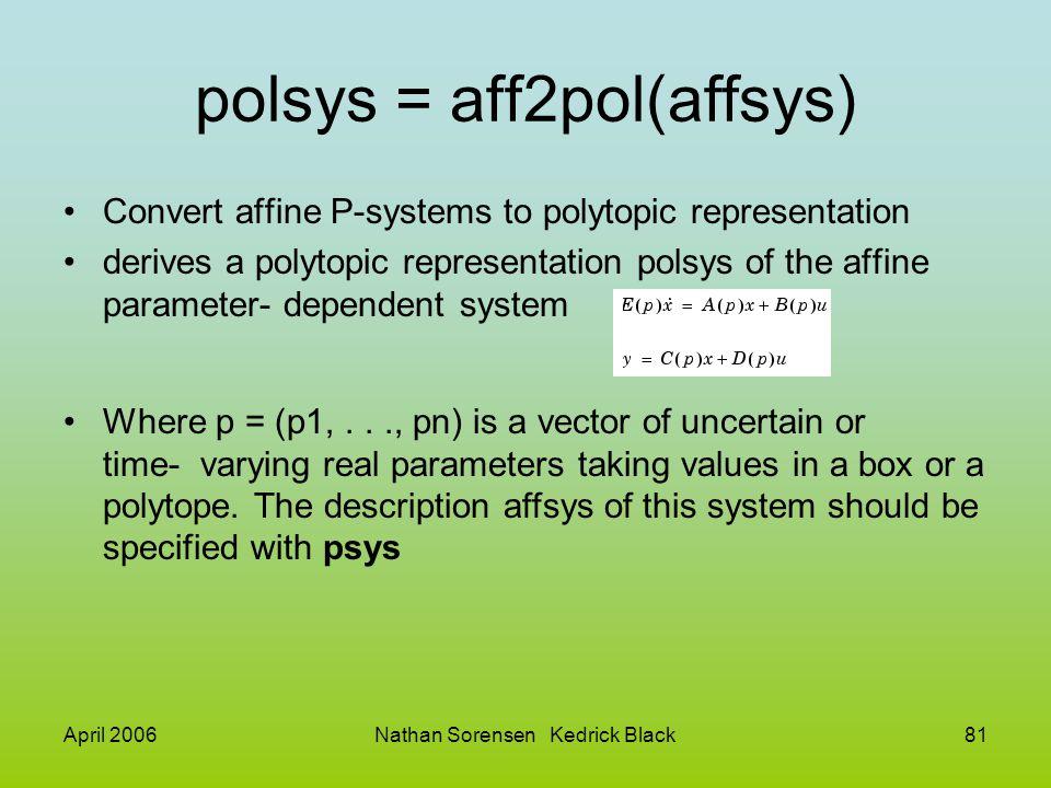 April 2006Nathan Sorensen Kedrick Black81 polsys = aff2pol(affsys) Convert affine P-systems to polytopic representation derives a polytopic representa