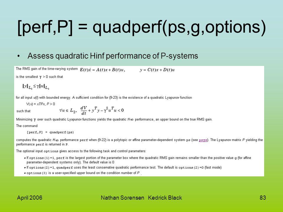 April 2006Nathan Sorensen Kedrick Black83 [perf,P] = quadperf(ps,g,options) Assess quadratic Hinf performance of P-systems