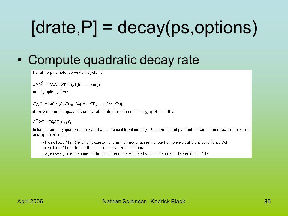 April 2006Nathan Sorensen Kedrick Black85 [drate,P] = decay(ps,options) Compute quadratic decay rate