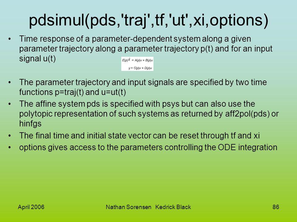 April 2006Nathan Sorensen Kedrick Black86 pdsimul(pds,'traj',tf,'ut',xi,options) Time response of a parameter-dependent system along a given parameter