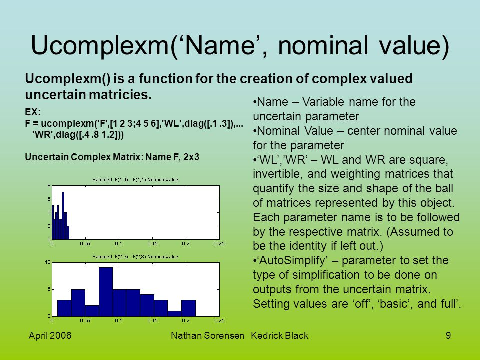 April 2006Nathan Sorensen Kedrick Black110 Sdlsim() example cont: EX cont: M2 = [0,1,1;1,0,0;0,1,1]*blkdiag(1,1,P); t = [0:.001:1] ; dist = 0.1*sin(41*t); u = ones(size(t)); [y3,meas,act] = sdlsim(M2,C,[u dist],t,1); plot(y3{:}, - ,t,dist, b-- ,t,u, g-. ) xlabel( Time: seconds ) title( Step response: disturbance (dashed) & output (solid) ) EX: P = tf(1,[1, 1e-5,0]); T = 1.0/20; C = ss([-1.5 T/4; -2/T -.5],[.5 2;1/T 1/T],...