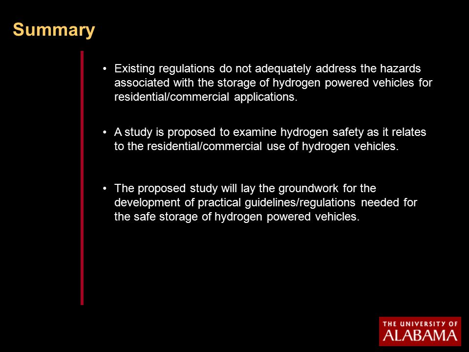 Summary Existing regulations do not adequately address the hazards associated with the storage of hydrogen powered vehicles for residential/commercial applications.