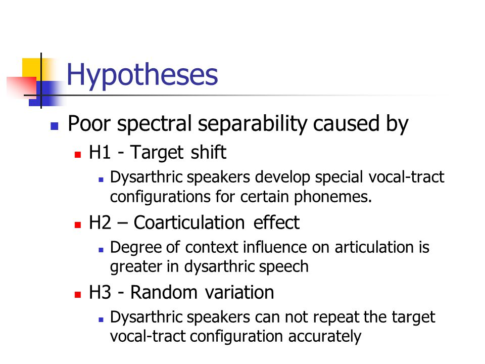 Problems Previous results of intelligibility test (by Hosom, Kain, et al.): Improvement potential: Dysarthric: 68% --> Normal: 99% Spectral feature replacement: 87% Baseline transformation system: GMM + Linear transformation NO improvement: 67% Poor spectral separability of dysarthric speech