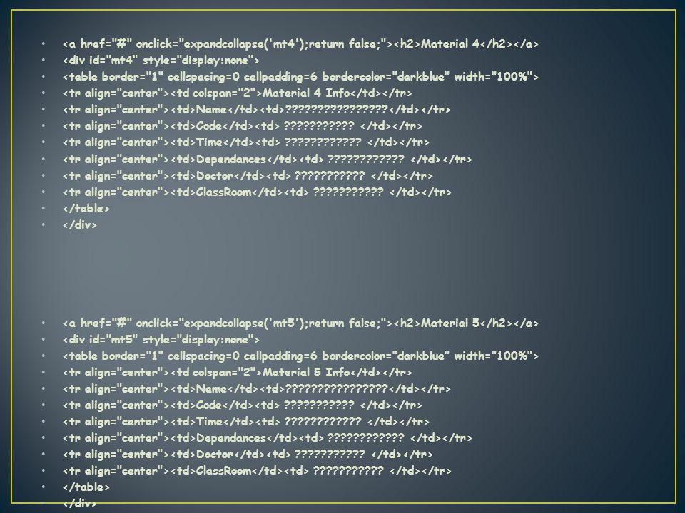 Material 4 Material 4 Info Name . Code .